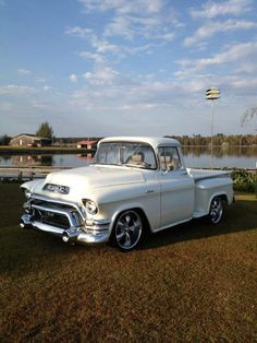 1955 - #GMC #Pickup #Truck looking awesome in white. #Classic #American #Cool