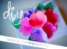 DIY 3d flower card for mothers day : http://www.helmihytti.fi/2014/05/diy-kukkakimppukortti.html
