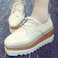 woman creepers patent leather women's Brogue shoes, warm flats lace up – Owame
