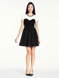 Kate Spade black and white sweetheart neckline dress. Chic and perfect for Spring!