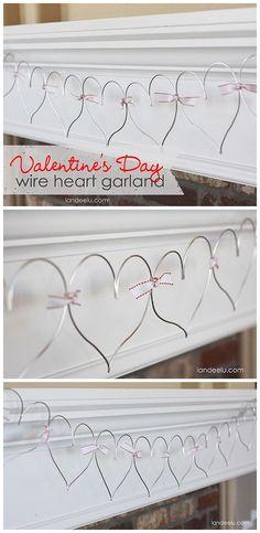 Valentine's Day Wire Heart Garland EASY DIY Decoration  Tutorial.  SO CUTE!