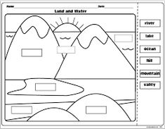 """The Lesson Plan Diva: Landforms and Bodies of Water FREEBIE! I usually supplement this with """"Candy Landforms""""- they love it! 3rd Grade Social Studies, Social Studies Worksheets, Social Studies Activities, Teaching Social Studies, Science Activities, Kindergarten Social Studies Lessons, Geography Worksheets, Kids Worksheets, Science Memes"""