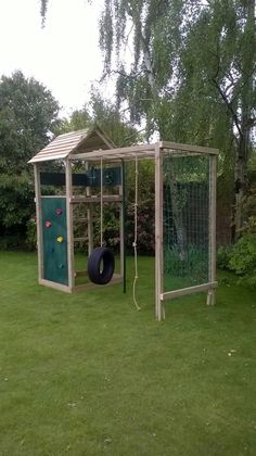 This climbing frame is fully treated and safety tested. It features a double set of monkey bars cargo net tyre swing firemans pole knotted rope climbing wall steering wheel periscope and a high platform. The frame is wide x deep and is high however we can