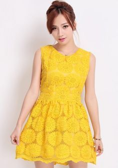 Yellow Sunflower Embroidery Zipper Sleeveless Lace Dress. Yellow is not usually my color, but I really like this dress.