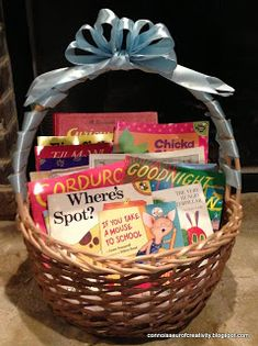 Baby Shower Book Basket Gift: A basket full of classic children's books.