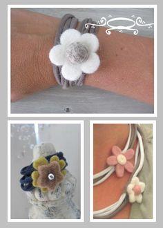 Armbanden en ketting van t-shirt gemaakt..