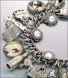 Silver Charm Bracelet, French charms