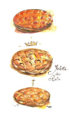 MelinArt (French Food Watercolours): Galette or King's cake