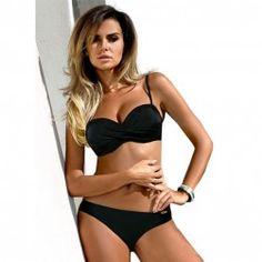 0bfda1d5a5daf Ariel Sarah Bandage Bikini Push UP Swimwear Swimsuit Women Bathing Suit  Halter Plus size Bikini Set Maillot De Bain
