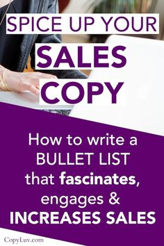 Simple Copywriting Tricks: How to write a bullet list that fascinates, engages & increases sales Business Sales, Business Marketing, Business Tips, Online Business, Digital Marketing Strategy, Sales And Marketing, Online Marketing, Marketing Tools, Content Marketing