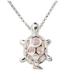 LOVE MINE ..Wish\u00ae Pearl Sterling Silver Necklace Gift Set - Turtle Pendant
