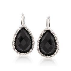 Black Onyx and .11 ct. t.w. Diamond Drop Earrings in Sterling Silver