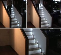 "The sensor at the bottom, once tripped, starts the sequence of lights leading up to the top of the steps – while not demonstrated, one has to hope there is a corresponding sensor at the top that performs the same function in reverse. ""My grandfather would have loved this, this is somewhat like what he did to warn him that someone was coming downstairs to his woodshop..."""