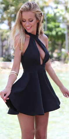 Sexy Backless Hollow Out Black Party Dress