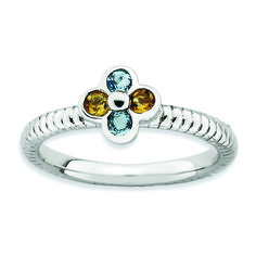 Stackable Expressions Sterling Silver Blue Topaz & Citrine Flower Ring| Stackable Expresions