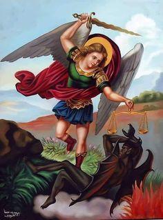 Archangel Michael Tattoo, St Michael Tattoo, Christian Paintings, Christian Art, Angel Spirit, Pig Wallpaper, Horsemen Of The Apocalypse, Kunst Online, Saint Michel