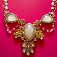 """Princess statement. Feel like a princess in this peachy pink stone on gold statement piece. Please make any offers with offer button. 20"""" long. Jewelry"""