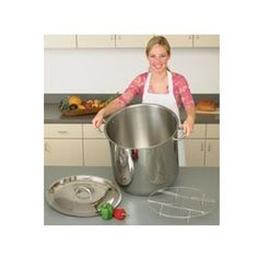 Precise Heat 65qt Extra Large Commercial Stock Pot The Precise Heat 65qt Extra Large Commercial Stock Pot is made with 304 Surgical Stainless Steel. Features the 12-Element encapsulated bottom for even heat distribution. Stay cool handles and knob. The stock pot holds 65 quarts and includes a stainless steel wire rack.     Large restaurant commercial size.   Dimensions : 20.50 inches in length, 20.50 inches in width, 18.00 inches in height.   Weight: 31 lbs. Steam Seafood, Wire Racks, Stainless Steel Wire, Kitchen Appliances, Cool Stuff, Knob, Cooking, Pots, Commercial