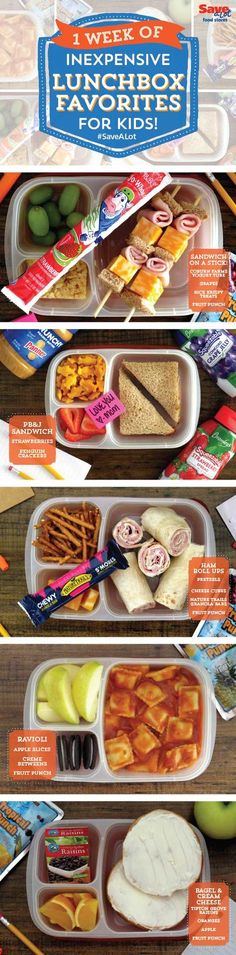 Easy Lunch Box Ideas - What to pack for school lunches on a budget. Save for when we get in a rut this school year! #easylunchboxes