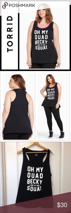 """Torrid Active - Oh My Quad Tank Top NWT Torrid Active - Oh My Quad Tank Top New with tags size 4(4X)  Who says workout wear can't be killer fashion? We say look hot and move with comfort no matter what. Sexy. Edgy. Go for it. Torrid Active - performance with attitude.  We're hooked and we can't stop staring at you in this tank top. We wanna get with you, and take your picture in the black cotton racerback with an """"Oh my quad Becky look at her squat"""" torrid Tops Tank Tops"""