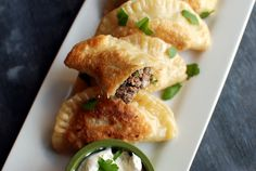 Pieroganoff - The Food in My Beard Creamed Beef, Sirloin Tips, Samosas, Polish, Melted Butter, Sour Cream, Appetizer Recipes, Stuffed Mushrooms, Pies