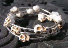 Day of the dead wrap around memory wire Bracelet by shabbyskull