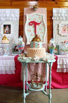 "Photo 8 of 100: Princess / Birthday ""Shabby Chic Baby Princess 1st Birthday Party"""