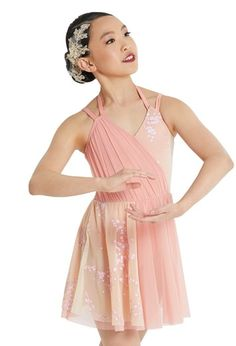 Tank-style dress has a floral printed bodice Double crisscross straps in back Attached pointed power mesh skirt Attached briefs Glitter free! Pop Star Costumes, Cute Dance Costumes, Dance Costumes Lyrical, Ballet Costumes, Dance Outfits, Dance Dresses, Ballerina Costume, Mesh Skirt, Elegant Dresses