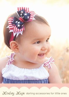 Baby Headband 4th of July Baby Bow Stars and Stripes by KinleyKate