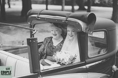 The bride & her mother arrive to the ceremony in style and with huge smiles. Weddings at The Johnstown Estate, photographed by Couple Photography.