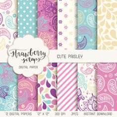 "Paisley digital paper: ""CUTE PAISLEY"" in pink, turquoise, purple, paisley…                                                                                                                                                                                 More"