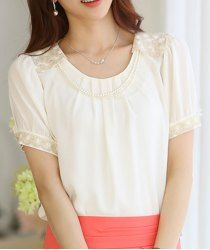 Ladylike Scoop Neck Short Sleeves Lace Splicing Chiffon Blouse For Women