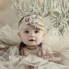 Ivory Bling Feather Headband -- Baby Bling Things Boutique Online Store