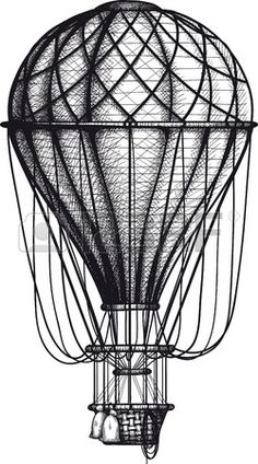 vintage Air Balloon drawn as engraving isolated on white background