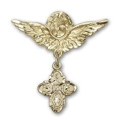 ReligiousObsession's Gold Filled Baby Badge with 4-Way Charm and Angel with Wings Badge Pin *** You can get more details by clicking on the image.