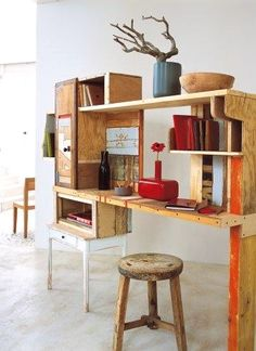 Office desk storage ideas intended for dream creative desk ideas lovable creative desk ideas best home . Dashboard Design, Home Design Plans, Home Interior Design, Painted Kitchen Tables, Rustic Home Offices, Desk Storage, Storage Ideas, Diy Décoration, Home Office Desks