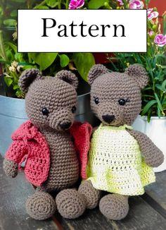Bear amigurumi / crochet pattern / ENGLISH/NORSK / PDF