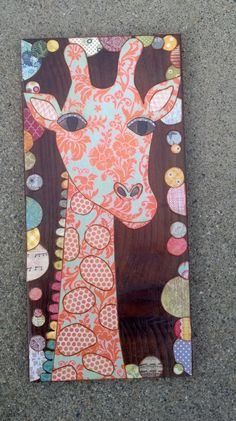 Mixed media collage art on wood by MixedMediology on Etsy, $28.00