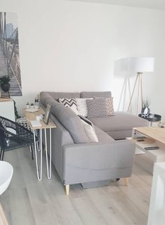 canapé d'angle fixe L scandi gris bobochic paris salon ambiance scandinave . Decor, Apartment Room, Home Decor Inspiration, Room, Living Room Sets, Interior, Family Living Rooms, Apartment Decor, Interior Inspo