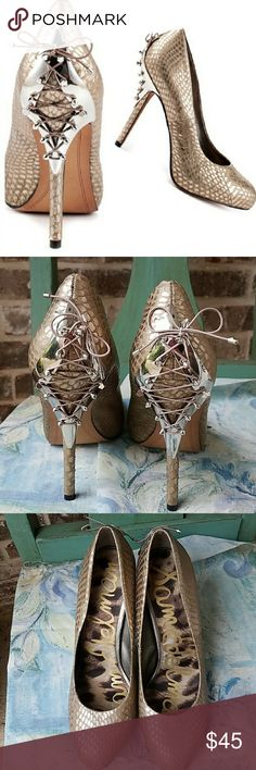 f741ffdcbc7 Shop Women s Sam Edelman Gold size Heels at a discounted price at Poshmark.  Lace up medal detail on heel.