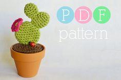 Amigurumi Cactus Crochet Prickly Pear PDF by BubblegumBelles Crochet Home, Knit Or Crochet, Single Crochet, Crochet Cactus, Crochet Flowers, Amigurumi Patterns, Crochet Patterns, Cactus E Suculentas, Diy Fleur