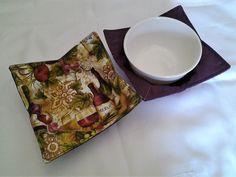 Microwave Bowl Cozy Purple Wine Bottle Hot Pad Trivet Textile Linens Kitchen Pot Holder Hot Pad by CaliSistersCreate on Etsy