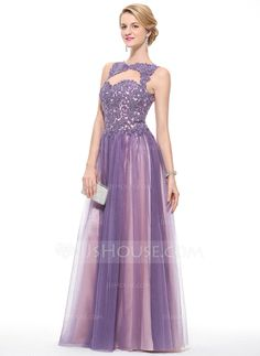 A-Line/Princess Scoop Neck Floor-Length Tulle Lace Prom Dress With Beading Sequins (018075911)