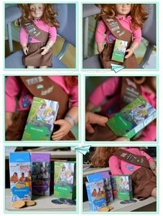 """girl scout doll Brownie unform on 18"""" doll similar to American Girl and make her some mini cookie boxes to sell ~ Adorable idea!"""