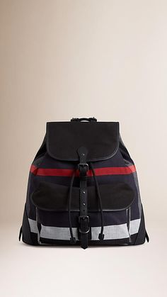 Navy Small Canvas Check Backpack - Image 1