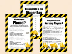 Construction Baby Shower Printable, Boy Baby Shower TLC20