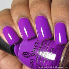 China glaze electric nights collection my nails hair acrylic neon colors. Purple Manicure, Purple Nail Polish, Nail Polish Colors, Manicure And Pedicure, Pink Nails, Nails Opi, Hot Nails, Nail Polishes, Summer Acrylic Nails