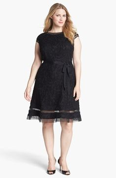 I love that this has a higher neckline, a defined waist and some flair at the hem! Beautiful!! Adrianna Papell Lace Fit & Flare Dress (Plus Size) available at #Nordstrom