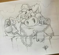 Disney Drawings, Cartoon Drawings, Animal Drawings, Cartoon Art, Cool Drawings, Drawing Sketches, Graffiti Drawing, Graffiti Lettering, Graffiti Art