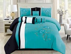 7 PC Comforter Set Blue Floral Modern with Bed Skirt Pillow Shams Square Pillow Purple Bedroom Decor, Tropical Bedroom Decor, Tropical Bedrooms, Modern Bedroom Decor, Bedroom Colors, Blue Comforter Sets, Blue Bedding, Bedding Sets, Teen Rooms
